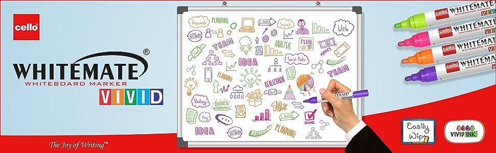 Whitemate;Vivid;Whiteboard marker;Cello;Whiteboard;Colourful;Erasable marker;Bright;Easy Wipe Marker