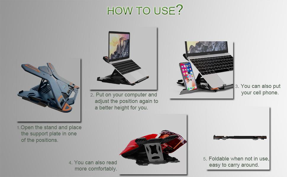"PC y Otros 10-15.6/"" Portatiles Soporte Port/átil Ergonomic 6 /Ángulos Adjustable Laptop Stand Soporte Mesa para Macbook DELL XPS B XiYee Laptop Stand Soporte Portatil HP"