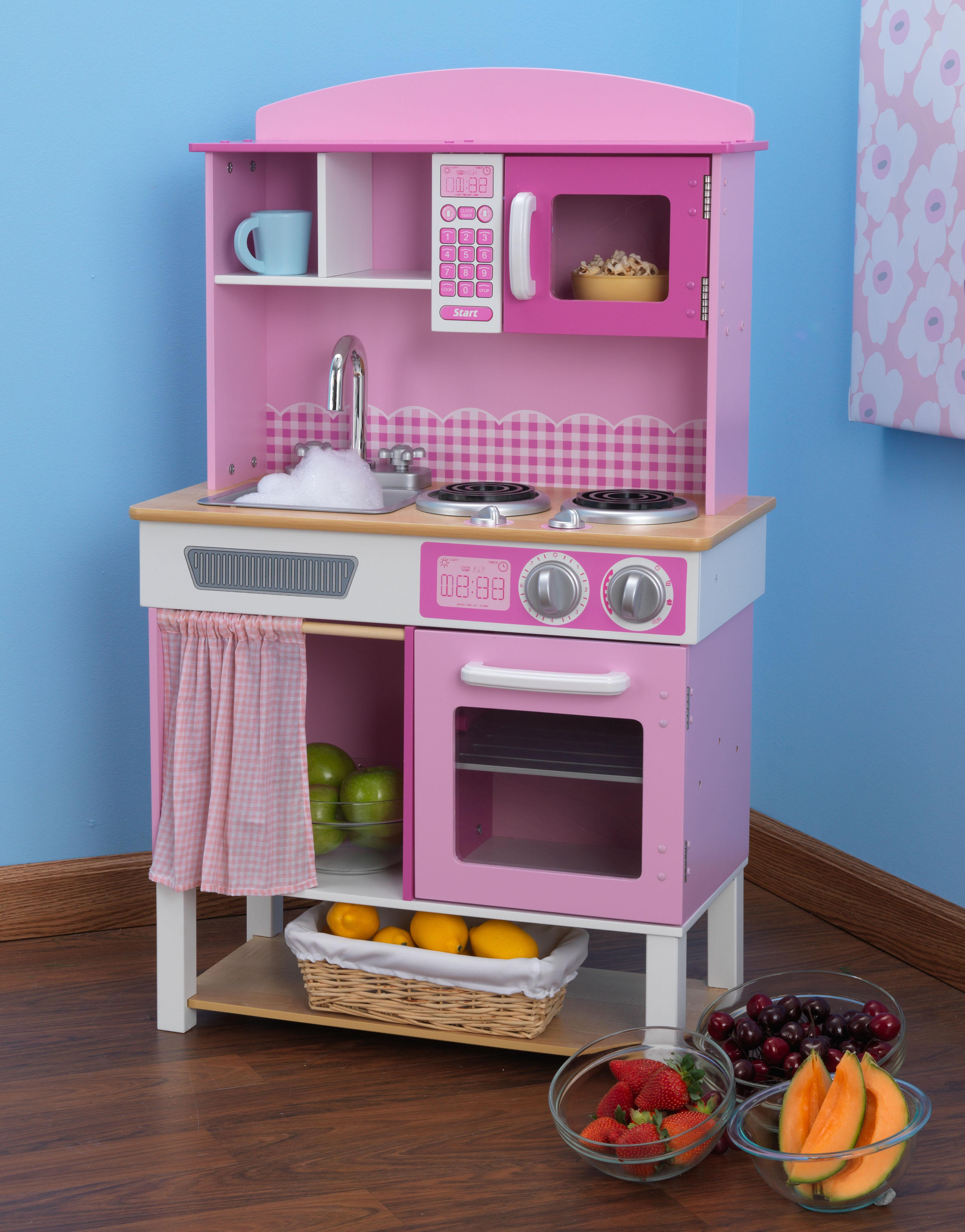 Kidkraft 53198 cucina giocattolo in legno per bambini home cookin 39 rosa giochi e - Cucine giocattolo in legno ...