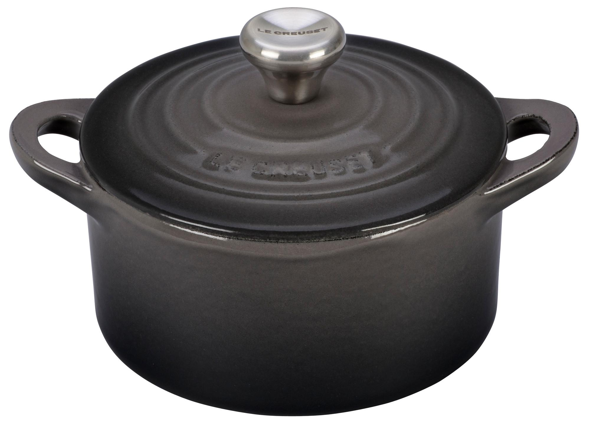 le creuset enameled cast iron mini cocotte 1 3 quart matte black kitchen dining. Black Bedroom Furniture Sets. Home Design Ideas