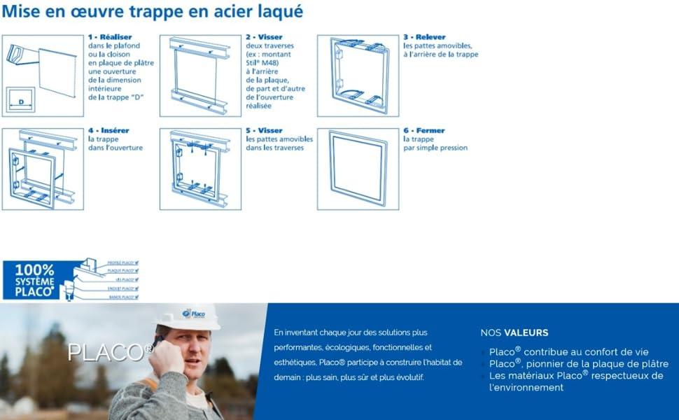 Trappe de visite en acier laqu/é blanc 200x200 PLACO T119250