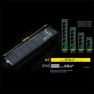 NVMe PCIe Gen.3 x4 110mm M.2 (最大 32 Gb/s)