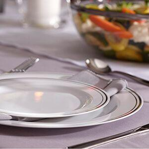 Mozaik Mosaic Appetizer Serverware Plastic dishes reusable disposable Silver & Amazon.com: Mozaik Premium Plastic Silver Banded Service for 8 with ...