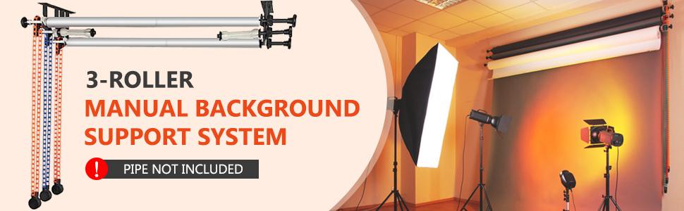 Wall Ceiling mount Background Support System Triple Hooks Bracket Roller Studio