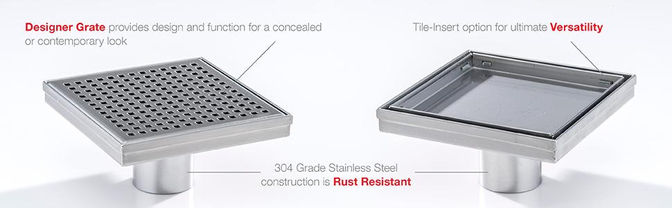 designline design line drain shower bathroom floor grate stainless steel tile insert rust resistant