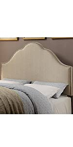 upholstered headboard, headboard, pulaski, home meridian, upholstered, oatmeal, tuxedo oatmeal, quee