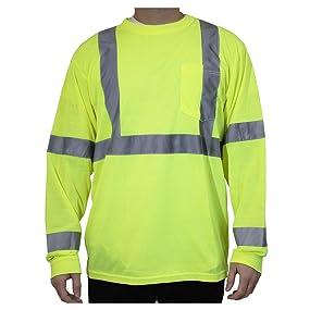 rugged blue, high vis, high visibility, hi vis, safety shirt, wicking shirt, high-vis, long sleeve