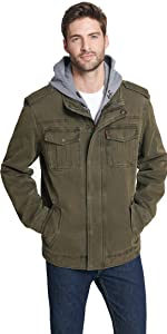 Washed Cotton Hooded Military Jacket with Sherpa Lining