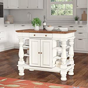 Americana Kitchen Island, Antique White Finish