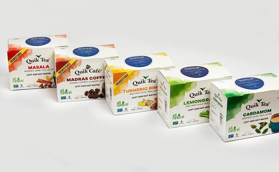 QuikTea, Masala Chai, Madras Coffee, Turmeric Ginger, Lemongrass, Cardamom, Chai Latte, Instant Chai