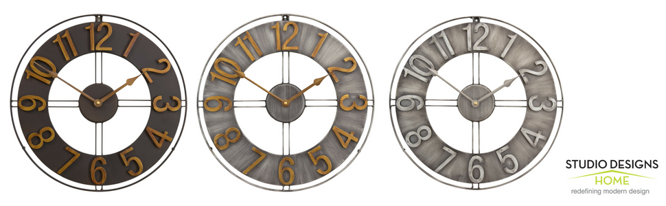 metal wall clocks, industrial wall decor, farmhouse wall decor, studio designs home
