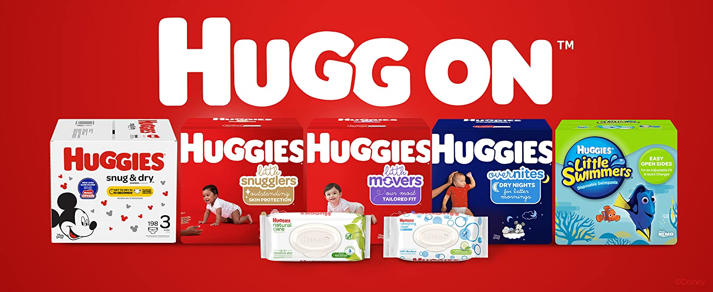 Huggies Little Snugglers Baby Diapers plus Huggies Natural Care & Refreshing Clean Wipes