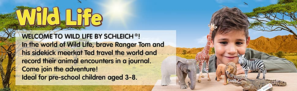 Wildlife Animal Collection by Schleich features animal figurines from the jungle to the rainforest