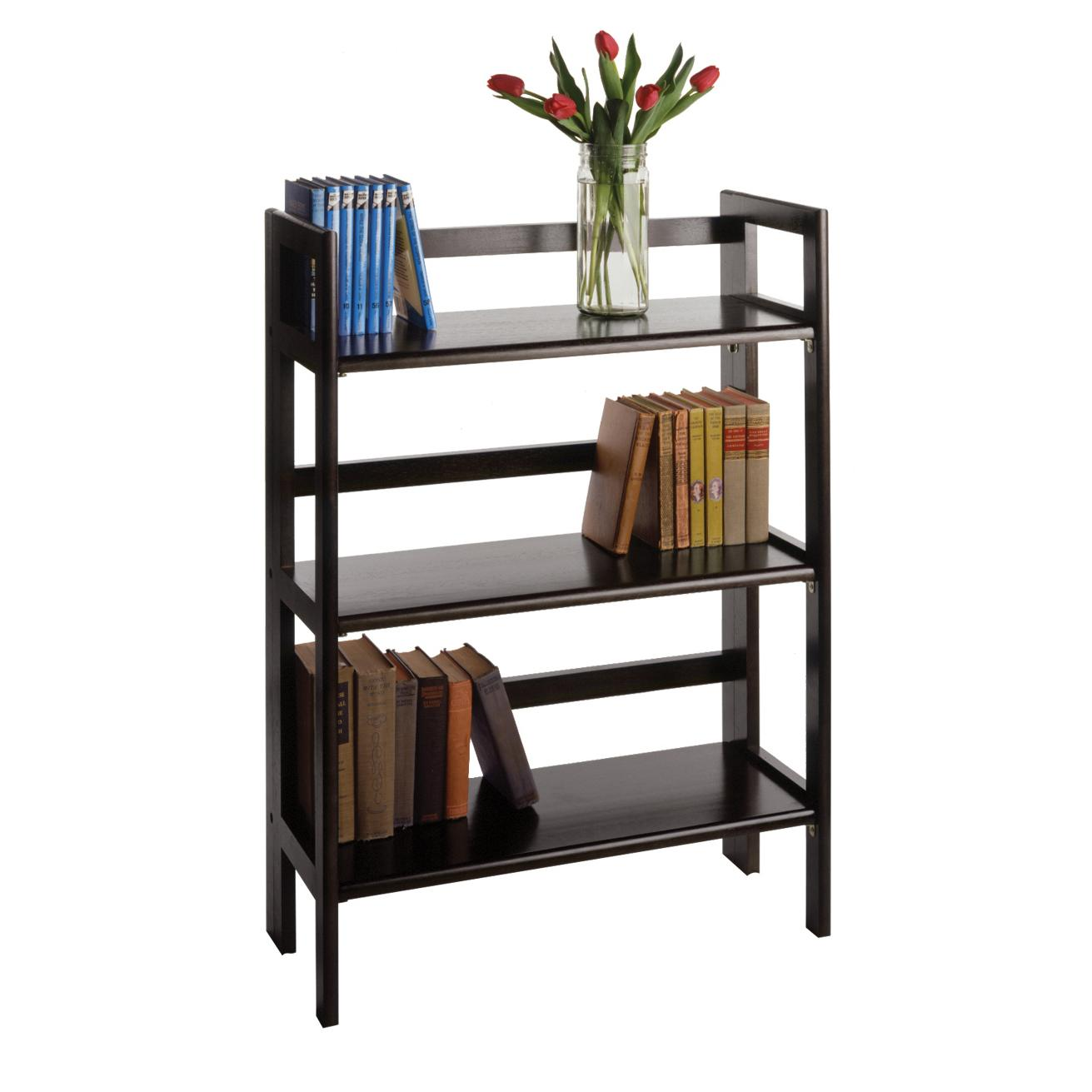 adjustable shelf espresso pine furniture bookcase solid shelving bookshelf book storage tier wood furinno fncl