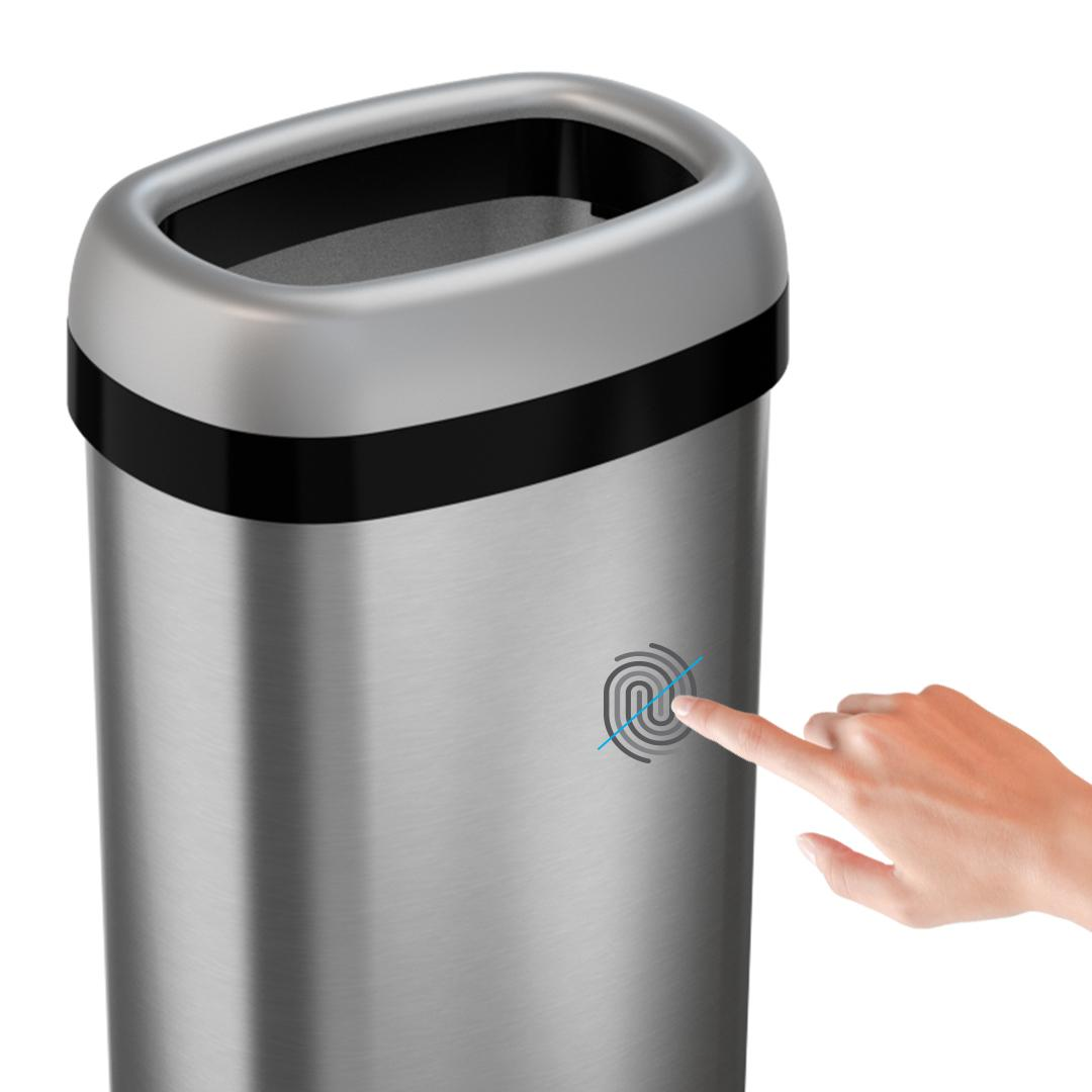 itouchless 16 gallon dual deodorizer oval open top trash can commercial grade stainless steel. Black Bedroom Furniture Sets. Home Design Ideas