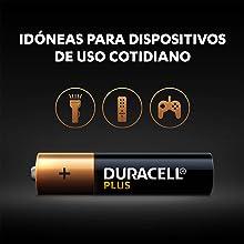 Las pilas Duracell Plus son unas pilas alcalinas multiuso idóneas para dispositivos de uso coti