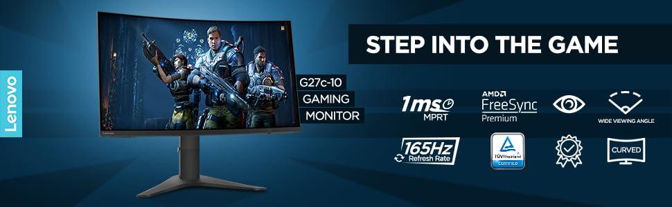 "Amazon.in: Buy Lenovo G27c-10 Curved Gaming Monitor, 27"" VA FHD, 165Hz, 1ms  MPRT, AMD FreeSync, 1Display Port, 1HDMI, Audio Out, Tilt & Height  Adjustable, VESA Mount, TÜV Rheinland Low Blue Light Certification"
