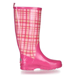 Playshoes Damen Gummistiefel mit herausnehmbarer Innensohle trendiger Regenstiefel aus Naturkautschuk mit Karo-Muster
