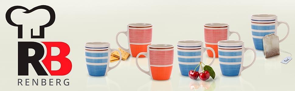 Set Juego 6pcs mug tazas Renberg 260ml gres cerámico 2 diseños pintados stripes multicolor