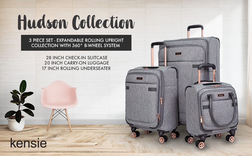 Hudson collection, 3 piece set, underseater, carry-on, check-in, luggage, suitcase, travel, spinners