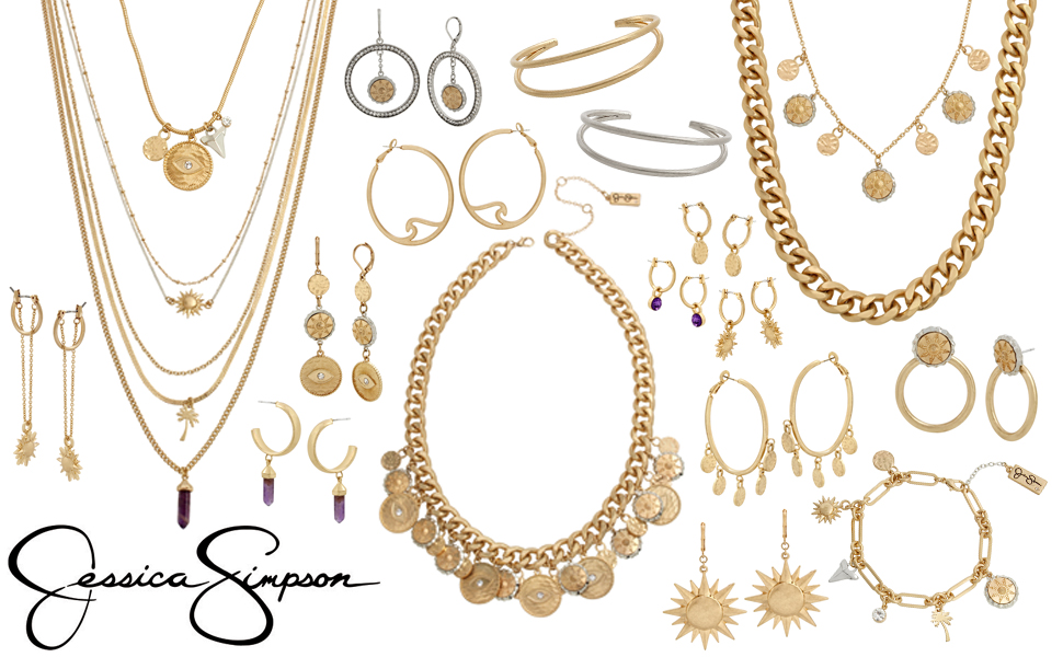 Jessica Simpson's spring collection featuring celestial motif charms and mixed metal hardware