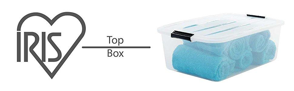 Boîte de rangement en plastique transparent Top Box par Iris Ohyama