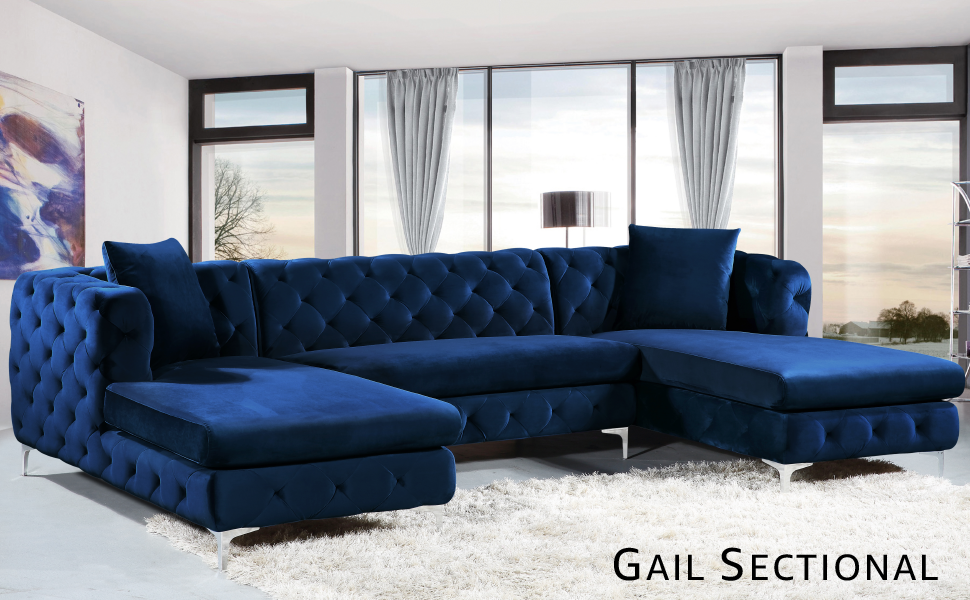 Brilliant Meridian Furniture Gail Collection Modern Contemporary Velvet 3 Piece Sectional 127 W X 69 5 D X 30 5 H Grey Pabps2019 Chair Design Images Pabps2019Com