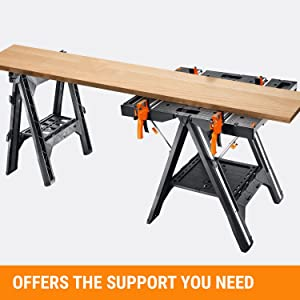 WORX Pegasus Multi-Function Work Table and Sawhorse with Quick Clamps and Holding Pegs – WX051 17