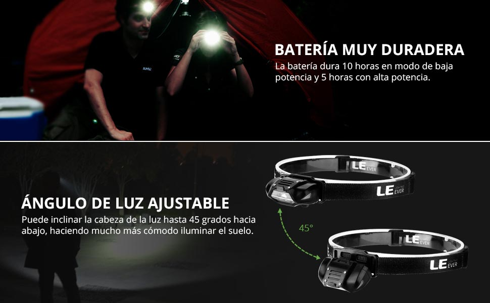 LE Linterna Frontal LED Potente Super Ligero, 4 Modos de luz 100lm ...
