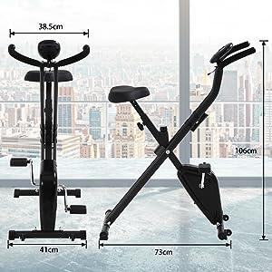 T-LoVendo TLV-XB01. Bicicleta estática Plegable Tipo X, vista general con medidas.