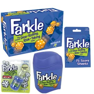 Farkle family of products, score sheet, dice cup