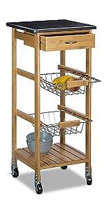 Relaxdays Küchenwagen Bambus ALFRED S