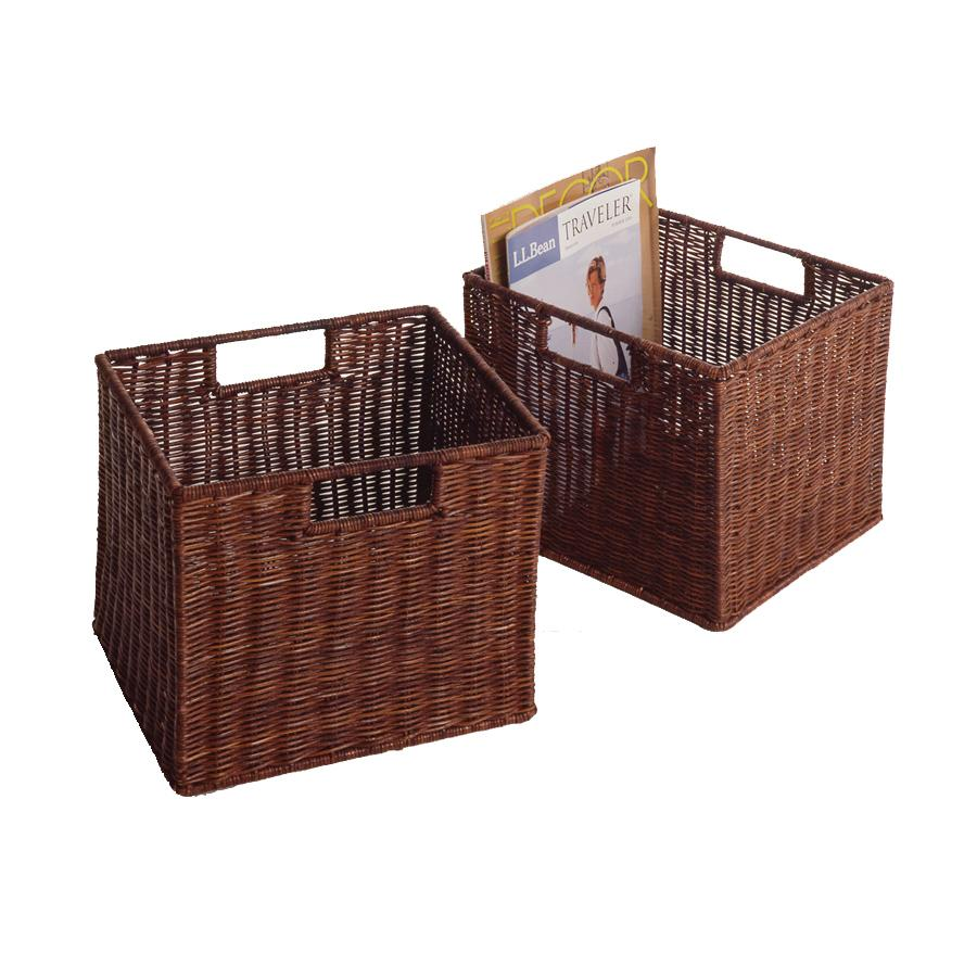 Wood Storage Shelves with Baskets