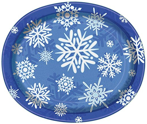 Winter Snowflake Holiday Oval Paper Plates 8ct ...  sc 1 st  Amazon.com & Amazon.com: Winter Snowflake Holiday Oval Paper Plates 8ct: Kitchen ...