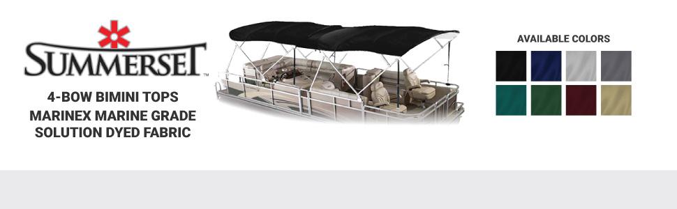 summerset 4 bow bimini top marine grade waterproof fabric sunbrella solution dyed