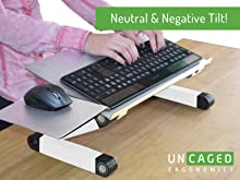 Adjustable height angle ergonomic computer keyboard stand negative tilt