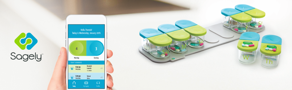 The Sagely SMART Weekly Pill Organizer