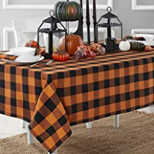 Elrene Home Fashions Halloween Buffalo Check Tablecloth