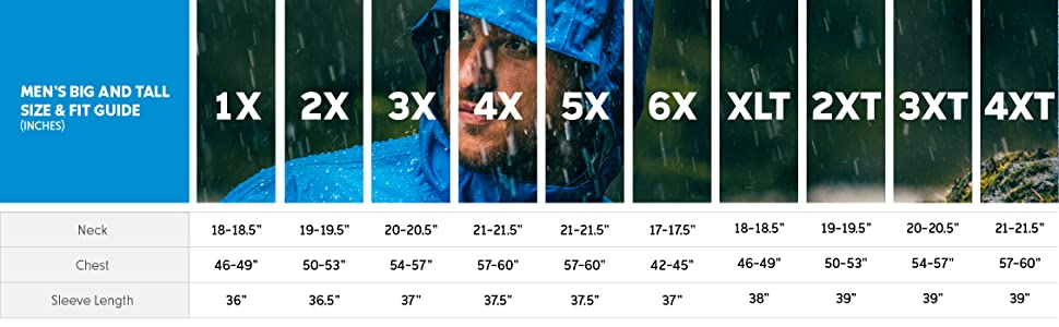 Men's rain jacket big and tall size and fit guide