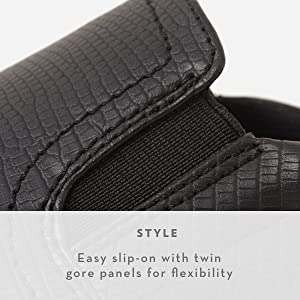 Easy slip on with twin gore panels for flexibility