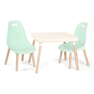 B Toys Kids Furniture Set 1 Craft Table 2 Kids Chairs With Natural Wooden Legs Ivory And Mint