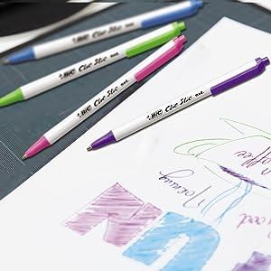 BIC Clic Stic Fashion Retractable Ball Pen - Vibrant Ink Colors