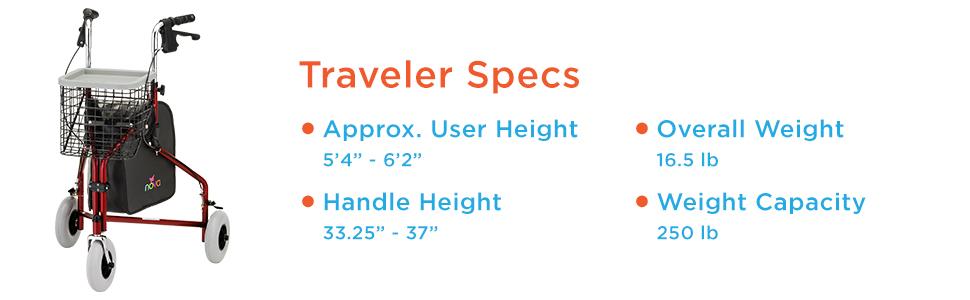 "NOVA Traveler 3 Wheel Rollator Walker, All Terrain 8"" Wheels, Includes Bag, Basket and Tray, Purple"