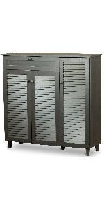 espresso, espresso cabinet, shoe storage, shoe storage cabinet