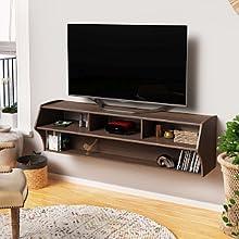 "Prepac ECAW-0208-1 Altus Plus 58"" Floating TV Stand, Espresso"
