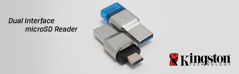 Kingston Digital FCR-ML3C MobileLite Duo 3C, USB 3.1 + Type C, Microsd Card Reader, microSDHC/microSDXC