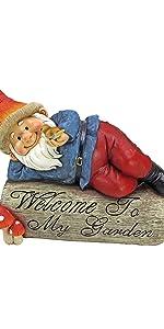 gideon the garden gnome, welcome sign, gnome, garden gnome