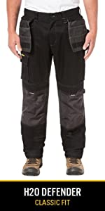 water resistant stretch fabric reflective knee pad workwear pant