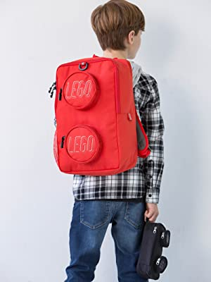 Backpack LEGO Brick red school
