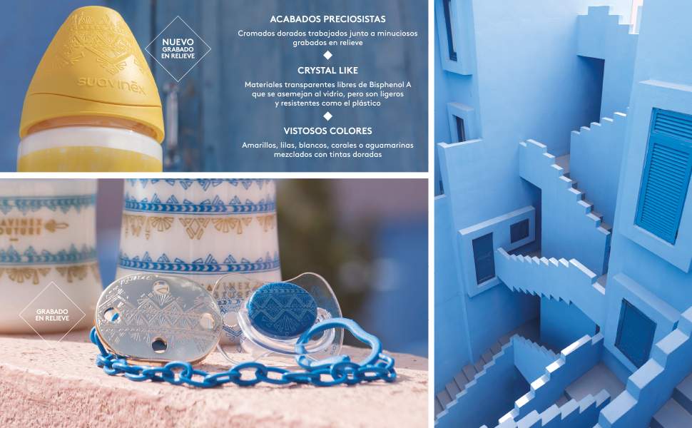 Suavinex - Biberón Bebé Premium Haute Couture. Tetina Redonda Silicona Flujo Lento, 150ml. Biberón +0 Meses. 0% BPA. Diseño Étnico Color Azul
